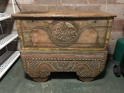Hand Carved Vintage Antique Indian Dowry Chest
