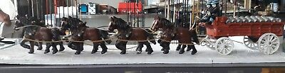 Vintage cast Iron Budweiser Clydesdale horse team beer wagon