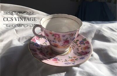 Beautiful Pink Floral Bone China Vintage Cup And Saucer