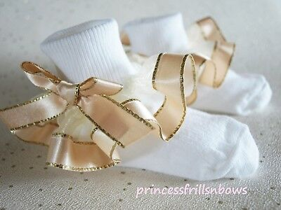 Baby Girls Reborn White Frilly Pale Gold Satin Christening Wedding Socks 4 Sizes
