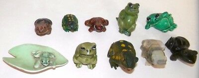 Collectible Miniature Frog Figurines  Lot of 10- 6- Ceramic 2-Glass, 2-Rubber
