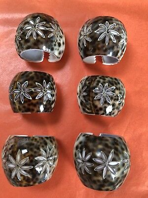 6 Cowrie Shell Napkin Rings Holders~Etched Flowers~Pretty