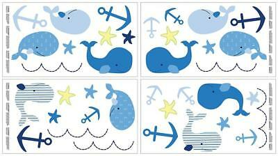 Nautica Kids Brody Whale/Anchor Wall Decals, Navy/Light Blue/Royal/Yellow