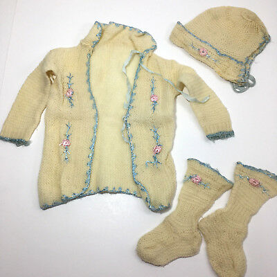 Crochet Baby Outfit 1920's Vintage Handmade Doll Set Hat Booties Bonnet Sweater