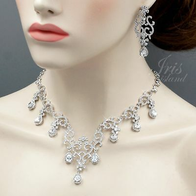 White Gold Plated Clear Cubic Zirconia Necklace Earrings Wedding Jewelry Set 517