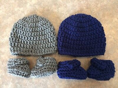 Crochet Hat & Booties Newborn - 3 Month Baby Boy Photo Prop Shower Gift Set Lot