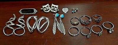 Mixed Lot of Sterling Silver Jewelry. Ring sizes 6, 7, 7.5 & 8. Not SCRAP!