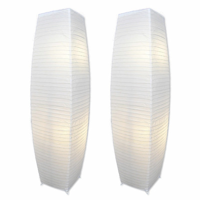 ALUMNI Chrome Floor Lamp Set with White Paper Shades (Set of 2) NEW HOT SELL US