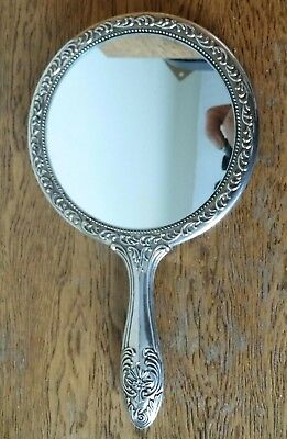 Lovely Vintage Heavy Embossed Ornate Silver Plated Dressing Table Hand Mirror
