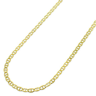 "10k Yellow Gold 2.5mm Solid Mariner Anchor Link Flat Necklace Chain 16"" - 30"""