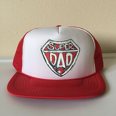 83eaf92c Super Dad - Father's Day Present Red White Snapback Trucker Hat Cap Super  Hero