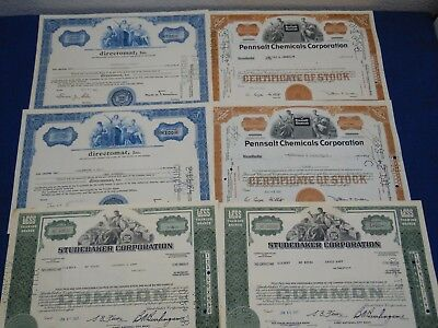 6 Vtg Common Stock Bond Certificate Shares STUDEBAKER DIRECTOMAT PENNSALT