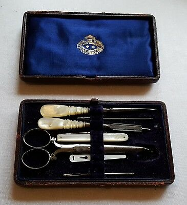 Boxed vintage Victorian antique blue cased sewing box and tools C