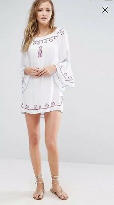 Anmol @ ASOS BNWT White Off Shoulder Embroidered Mini Beach Dress UK Medium