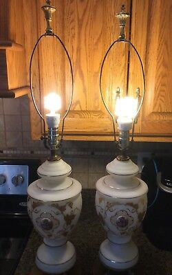 Two Vintage Porcelain Victorian Lamps With Fancy Brass Base