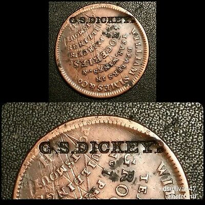 G.S. DICKEY'S Counterstamp on William Simes Hard Times Token HT194