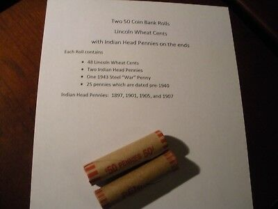 Two 50 Coin Rolls US Lincoln Wheat and Indian Head Cents