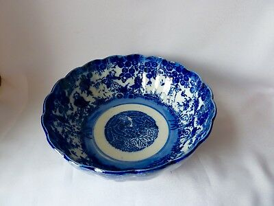 Antique Victorian Blue and White Porcelain Chinese Theme Bowl