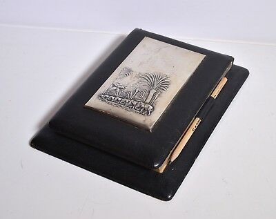 Elephant Procession Russian Antique Silver & Leather Note Book Early 20C