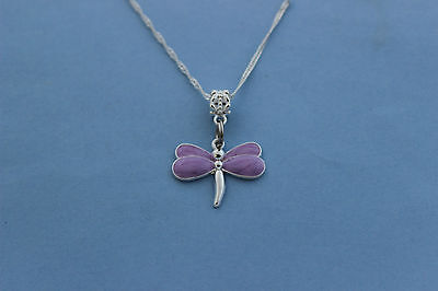 Sweet Girls Character Mauve Dragonfly Charm Pendant Necklace,free Post In Oz!!