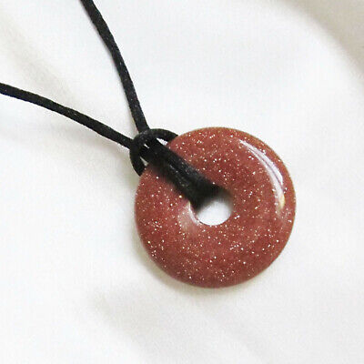 Small Round Stone DONUT BEAD PENDANT & Cord Necklace - Choice of Colours