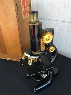 Gorgeous Brass Bausch & Lomb Microscope Patented 1915