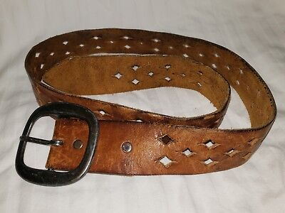 real vintage distressed leather hippie belt