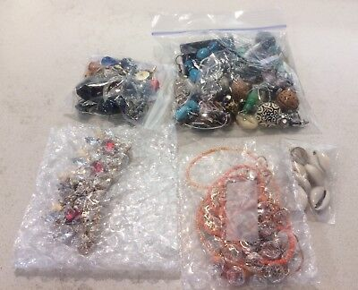 Lot Of Costume Jewelry Pieces Vintage Earrings Necklaces Beads For Arts Crafts