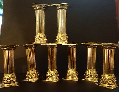 WEDDING CAKE DECORATING PILLARS x8 GOLD colour - (3in - 7.7cm) - PEDESTAL LOOK!