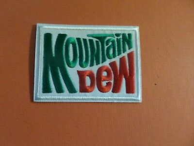 MOUNTAIN DEW red & green & white   Embroidered 2-3/4 x 3-5/8 Iron On Patch