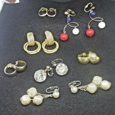 JEWELRY LOT 8 Pairs sets Multi CLIP ON earrings Dangle stud Vintage? Now? A51