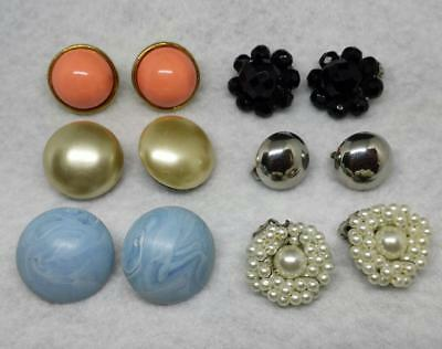 JEWELRY LOT 6 Pairs sets Multi CLIP ON earrings Dangle stud Vintage? Now? E35