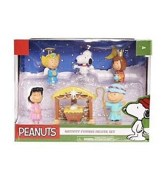 Peanuts Nativity Figures Deluxe Set Annual Christmas Pageant - Charlie Brown