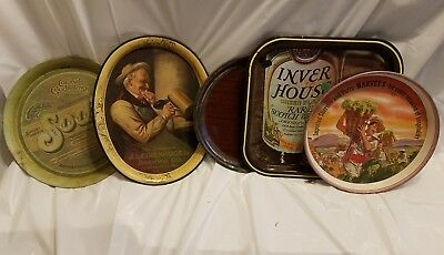 Lot of 5 Beer/Soda Serving trays Leinenkugel Colonel Goodfellow
