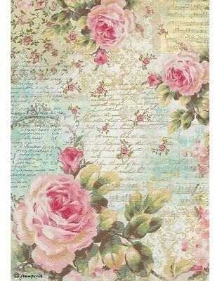 Stamperia Decoupage Rice Paper Roses & Writing