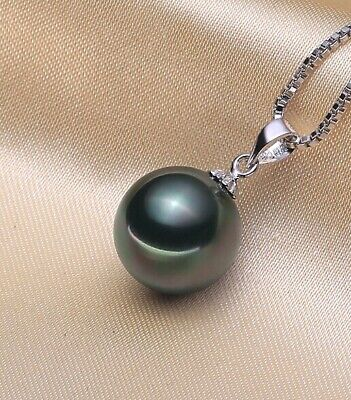 925 sterling silver 10mm black pearl necklace pendant + gift bag