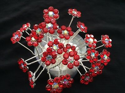 10pcs flower crystal red bridal hair pins hair accessories wedding party F