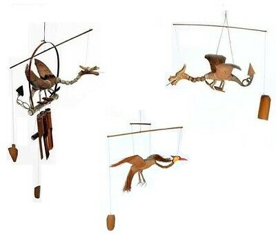 Hand Carved Wooden Dragon Windchime Bamboo Coconut Garden Wood Wind Chime Mobile