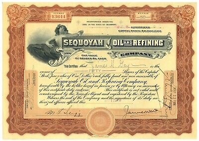 Sequoyah Oil and Refining Company. Stock Certificate