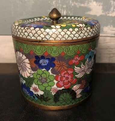 Vintage Antique Chinese Cloisonné Tea Caddy