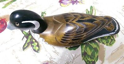 """Handcarved Wood Duck Decoy by Nanco 13"""" long with eye glass."""