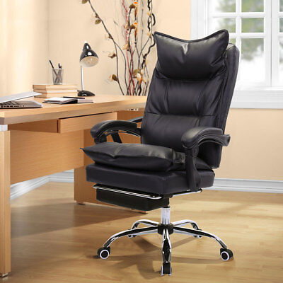 High Back Pu Leather Reclining Office Chair Ergonomic Footrest Armchair