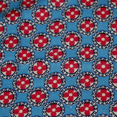 Vintage Feed Sack Print Fabric - Red White & Blue ~ Excellent ~ Quilt Repair