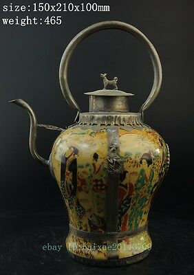 Antique Collectible Chinese Handmade Silver & Porcelain Inlaid Teapot yellow c01