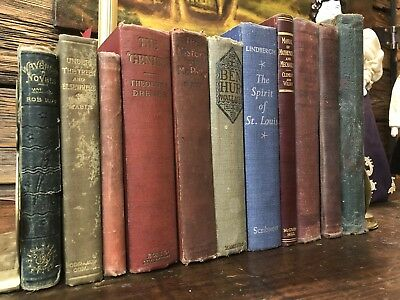 Lot of 11 Antique Books Old Decorative Books Library Decor Staging Fun Titles