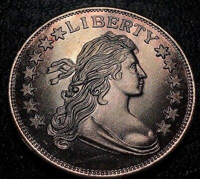 Amazingly Toned Vintage Flowing Hair Liberty 1 oz .999 Silver Art Round Toning