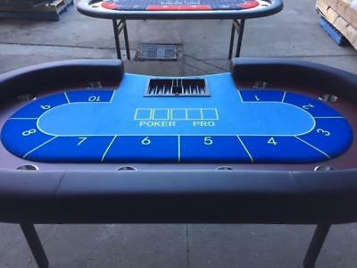 "94"" 7.8 ft Poker Table - High Quality Blue on Blue Felt  - Deluxe Casino Table -"