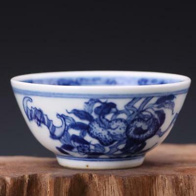CH0202 China Blue and white Hand carved  Porcelain Peaches and bats Tea Cup
