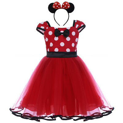 Girl Kid Minnie Mouse Costume For Toddler Polka Dots Birthday Party Dress Outfit