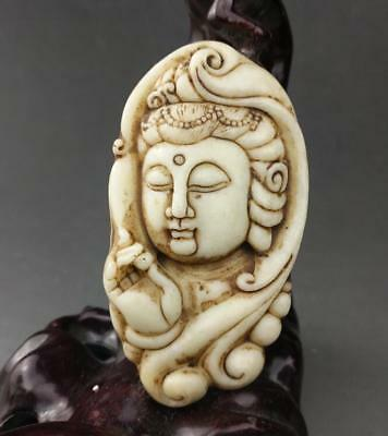 Chinese old jade  carved propitious Avalokiteshvara KWAN-YIN statue pendant a01